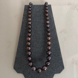 Large Bronze Marble Beaded Necklace